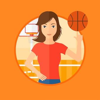 Basketbal speler draaiende bal.