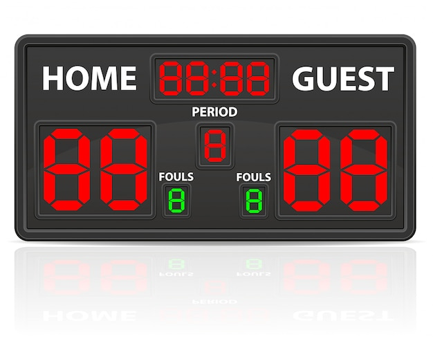 Basketbal sport digitale scorebord vectorillustratie