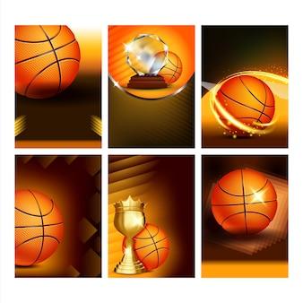 Basketbal sport evenement flyer posters instellen vector. basketbalbal en gouden bekerprijstrofee. aankondiging van nationale en internationale kampioenschappen sportive game concept-sjabloonillustraties