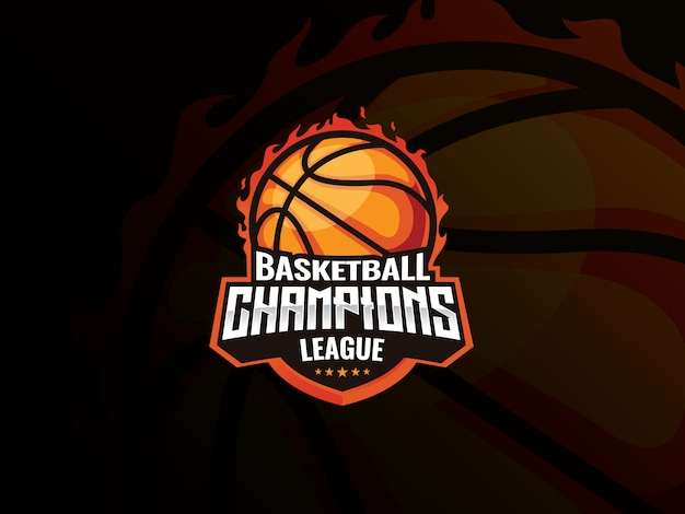Basketbal sport logo ontwerp. basketbal in brand vectorillustratie. basketbal champions league,