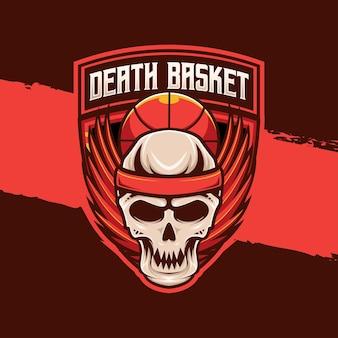 Basketbal sport logo schedel vleugels karakter icon