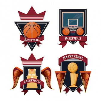 Basketbal sport set emblemen