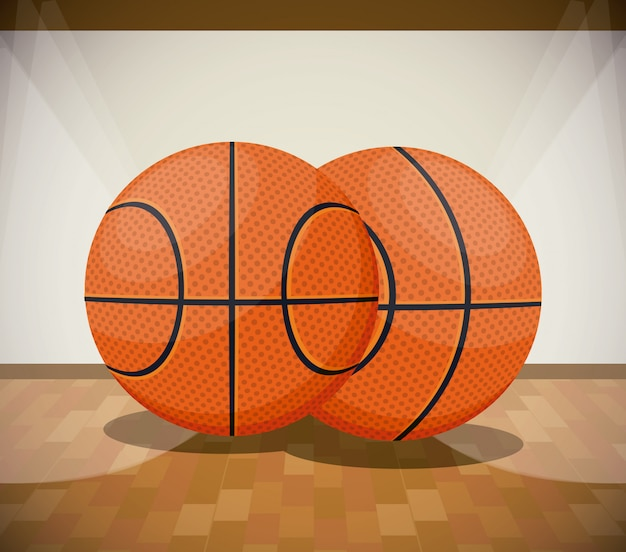 Basketbal sport spel landschap cartoon