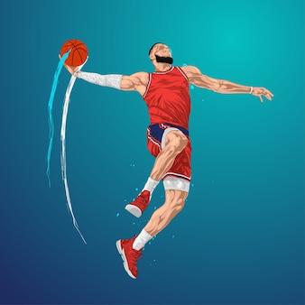 Basketbal springen en schieten