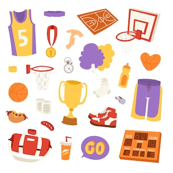 Basketbal stickers elementen