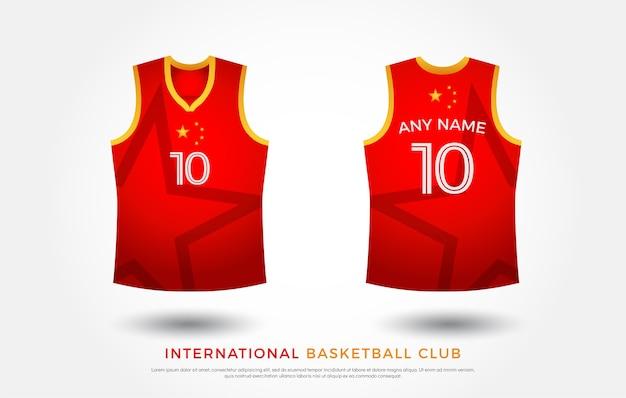 Basketbal t-shirt ontwerp uniforme set. basketbal jersey sjabloon. rood en geel