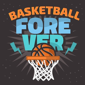 Basketbal thema slogan t shirt afdrukontwerp afbeelding