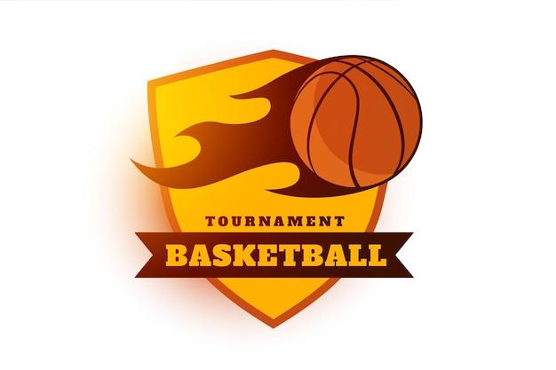 Basketbal toernooi label ontwerp symbool