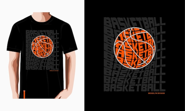 Basketbal typografie tshirt ontwerp premium vector