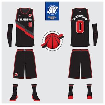 Basketbal uniform sjabloonontwerp. Premium Vector