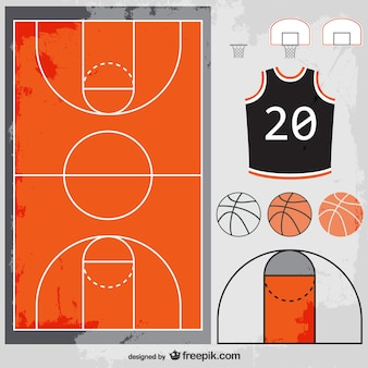 Basketbal vector set gratis te downloaden