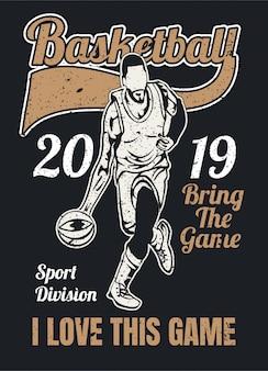Basketbal vintage stijl illustratie