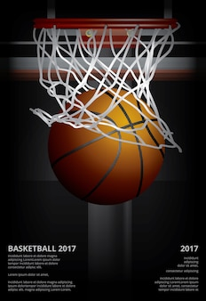 Basketbalaffiche die vectorillustratie adverteren