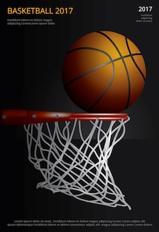 Basketbalaffiche reclameillustratie