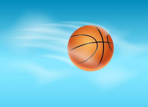 Basketbalbal die achtergrondillustratie vliegen. basketbal poster