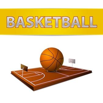 Basketbalbal en veld met ringenembleem