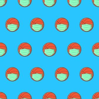 Basketbalbal in medisch gezichtsmasker naadloos patroon op een blauwe achtergrond. sport thema vectorillustratie