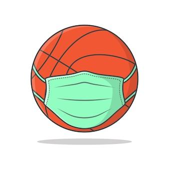 Basketbalbal in medisch gezichtsmasker.