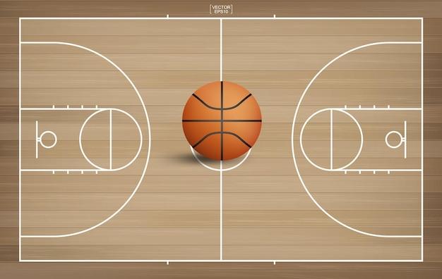 Basketbalbal op het gebied van het basketbalhof. met houten patroonachtergrond. vector illustratie.