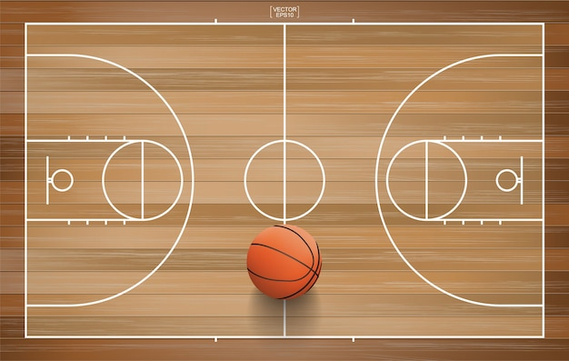 Basketbalbal op houten hof.
