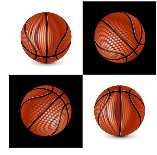Basketbalballen die op witte en zwarte achtergrond in vectoreps worden geplaatst