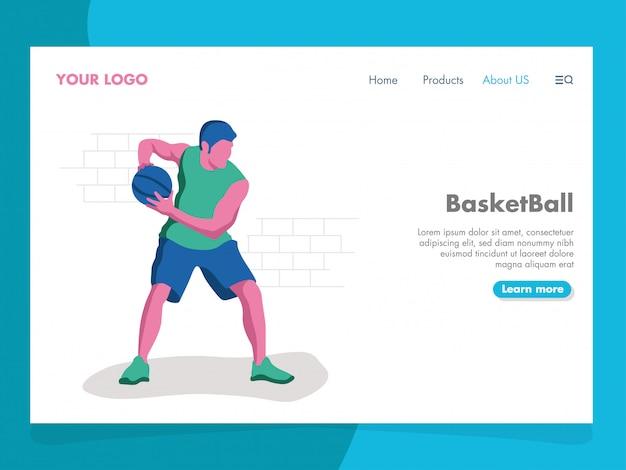 Basketbalillustratie voor landingspagina