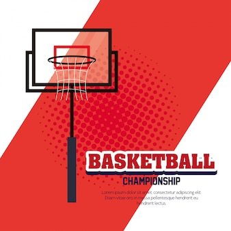 Basketbalkampioenschap, embleem, ontwerp van basketbal en hoepelmand