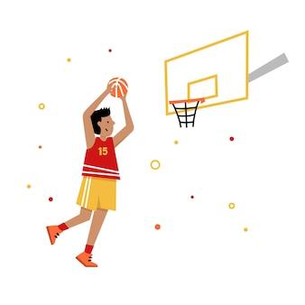 Basketbalkampioenschap voor kinderen. basketbalspeler met bal. jonge jongen stripfiguur actie.