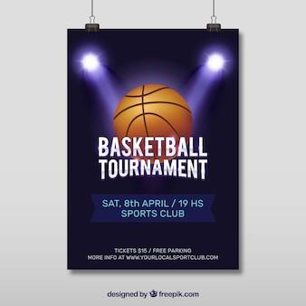 Basketball poster met schijnwerpers