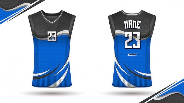 Basketbaloverhemdontwerp, voor- en achterkant
