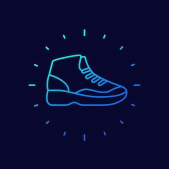 Basketbalschoenpictogram, hoge sneakers lineair