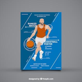 Basketbalspeler brochure in infographic stijl