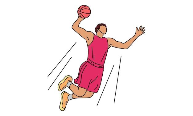 Basketbalspeler dunking