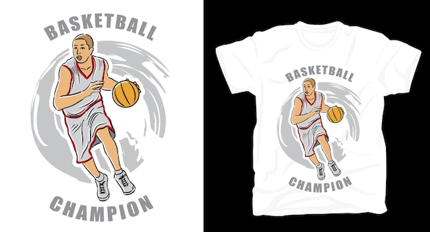 Basketbalspeler illustratie met typografie t-shirt design