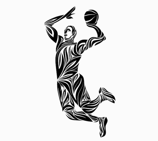 Basketbalspeler in bloemenornament.