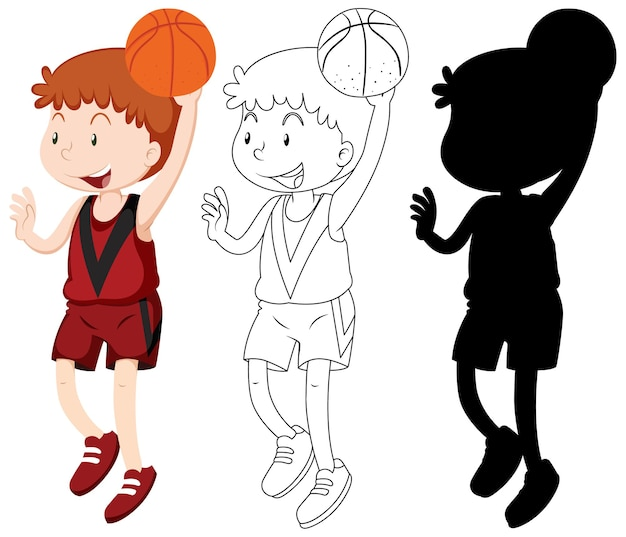 Basketbalspeler in kleur en omtrek en silhouet