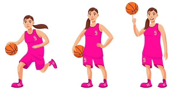 Basketbalspeler in verschillende poses. vrouwelijke persoon in cartoon-stijl.