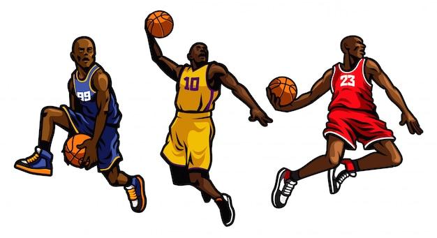 Basketbalspeler ingesteld