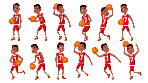 Basketbalspeler kind ingesteld