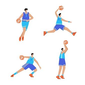 Basketbalspeler met bal. heren basketbalkampioenschap poster, sportbanner
