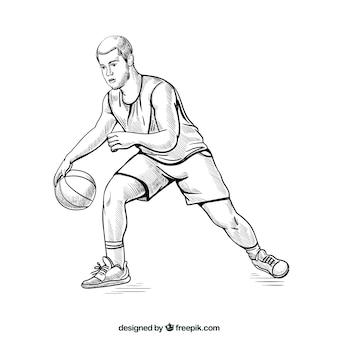 Basketbalspeler met schetsmatige stijl