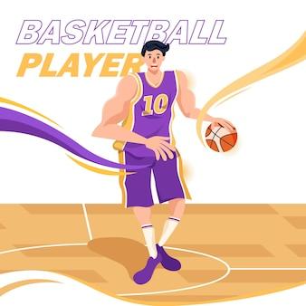 Basketbalspeler plat ontwerp