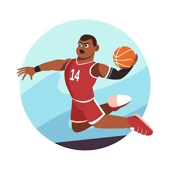 Basketbalspeler slam dunk