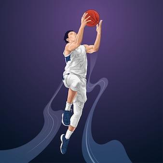 Basketbalspeler springen schieten