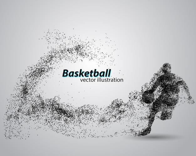Basketbalspeler uit deeltjes.