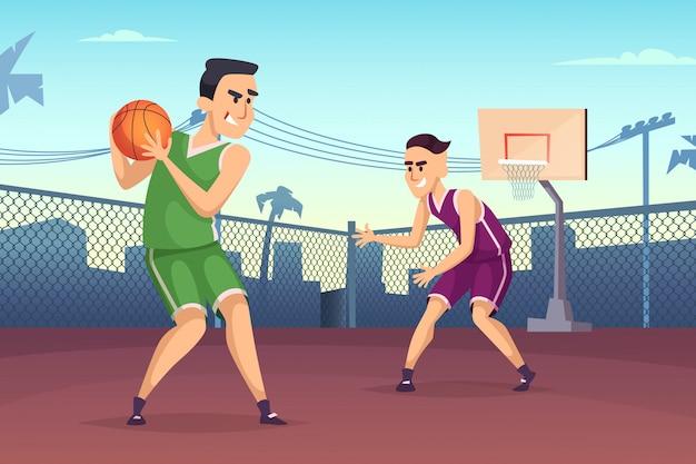 Basketbalspelers die op het hof spelen