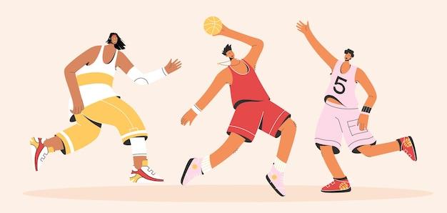Basketbalspelers in uniform streetball spelen. jonge sporters trainen met de bal naar sportwedstrijd, genieten van hobby, activiteit buitenshuis.
