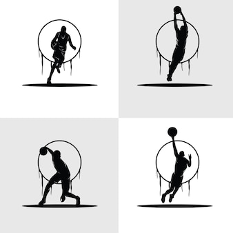 Basketbalspelers silhouetten set, zwart-wit illustraties