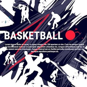 Basketbalspelers sportman sportwedstrijd logo banner