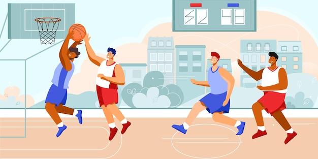 Basketbalstadionspelersamenstelling met buitenlandschap met stadsgezicht en doodle-personages van atleten die hoepels spelen